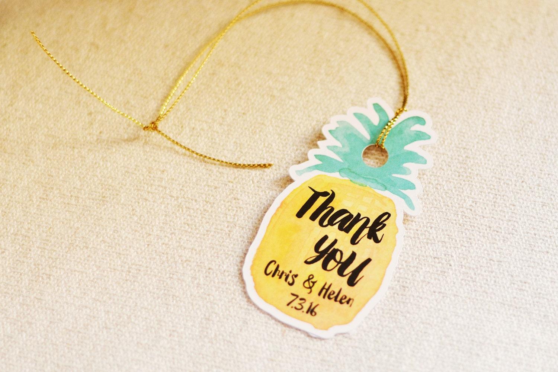 Hawaiian Tag: Wedding Thank You Tag Pineapple Hawaiian Tropical Thank You