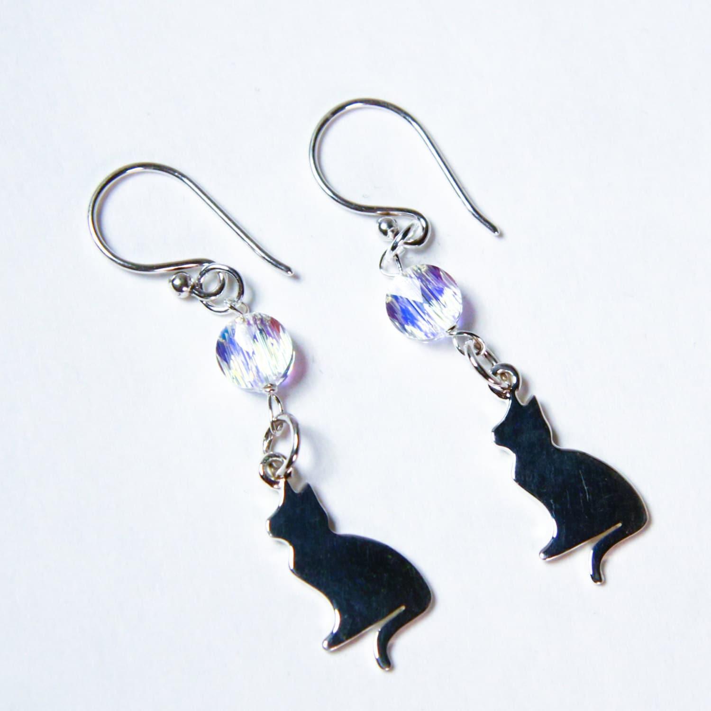 Silhouette Earrings: Cat Charm Earrings FREE US Shipping Silhouette Kitty