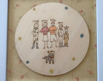 Family drawing burned onto wood to keep forever - custom and personalised