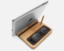 Wooden Desk Organizer – Oak Wood Office Desk Organizer with iPad Stand, Pen Holder & Glasses Holder
