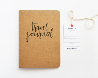 Kraft Travel Journal, Calligraphy Travel Notebook | Hand Lettered Traveler's Journal