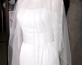 "Handmade 100"" L x 50"" W ivory Swarovski Crystal wedding bride 3-tiers Viel (3rd layer can be removable)"