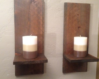 Rustic Modern Wall Sconces, Rustic Rough Sawn Candle Holders