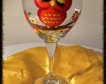 Whimsical Red Owl Wineglass