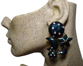 Authentic CHRISTIAN DIOR Vintage Teal Enamel Celestial XL Clip Earrings