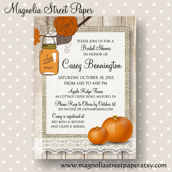 Autumn Bridal Shower Invitation, Rustic Printable Fall Bridal Shower Invitation
