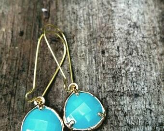 Sweet Little Dangle Drop Teal Gold Earrings