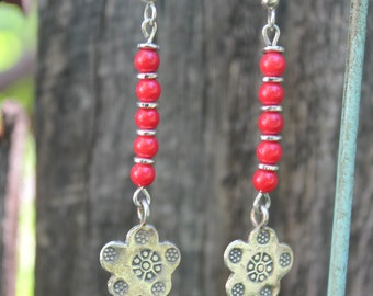 Earrings with corral beads and silver flower drop.  Feminine and funky!
