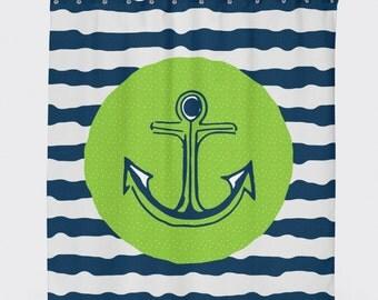 Anchor Shower Curtain, Shower Curtain Nautical, Kids Bathroom Decor, Shower Curtains For Kids, Nautical Bathroom Decor, Navy Shower Curtain