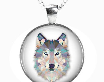 WOLF - Glass Picture Pendant on Chain - Silver Plated (Art Print Photo S5)
