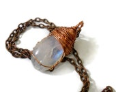 Wire-wrapped moonstone pendant necklace, copper and moonstone, rainbow moonstone necklace, rainbow moonstone pendant on copper necklace