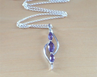 "925 Amethyst Pendant & 18"" Sterling Silver Chain/Amethyst Gemstone Necklace/February Birthstone Jewelry/Amethyst Jewellery/Amethyst Jewelery"