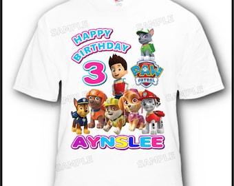 Personalized Paw Patrol Birthday T-Shirt 2T, 3T, 4T Youth XS, Sm, M, L