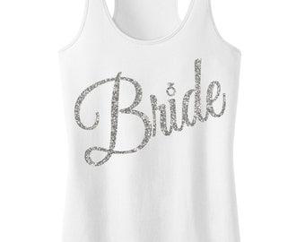 BRIDE Tank Top Glitter Cursive print, Bride tank, Wedding shirt, Bridal tank, Bride shirt, wedding clothes