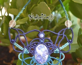 "Macrame necklace ""Yemaya"" with Sodalite and Lapis Lazuli beads"