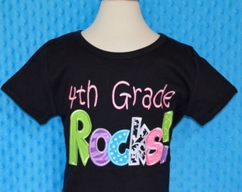 Personalized 4th Grade Rocks Applique Shirt or Onesie Girl or Boy
