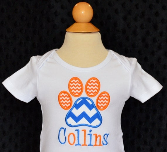 Personalized initial football paw print applique shirt or for Custom football shirt printing