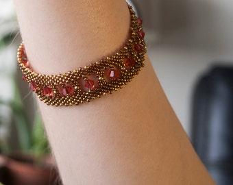 Unique Gift  Gold Bracelet -Delicate Sparkling Luxury- Arabian Nights- Padparadscha Swarovski Crystal  Arabian Nights   1920s Speak Easy