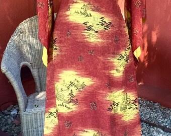 Asian Hawaiian Pake Mu Dress Silk L
