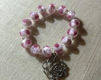 Rose Glass Beaded Bracelet w/ Rose Charm