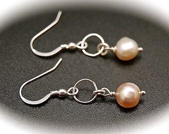 Silver Hoop and Pearl Earrings, Silver Hoops, Pearl Earrings