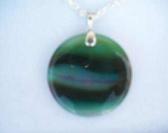 Green Waves Natural Agate Stone Pendant