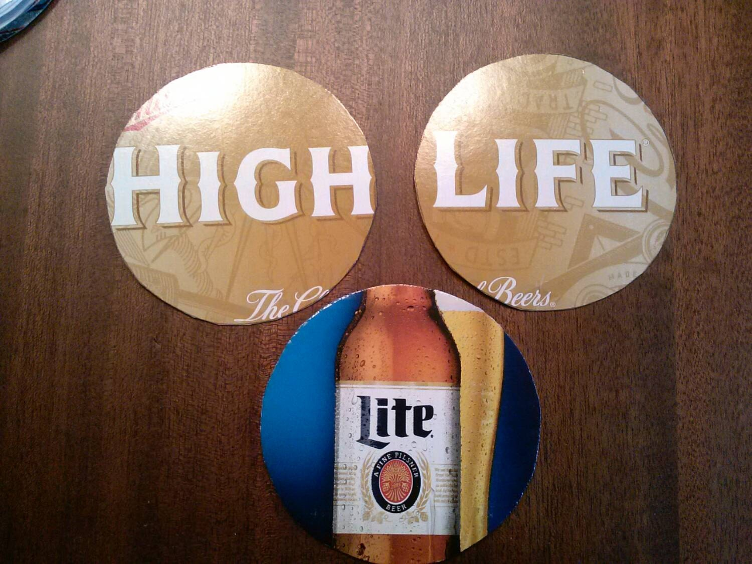 miller high life miller lite upcycled coasters large pairs. Black Bedroom Furniture Sets. Home Design Ideas