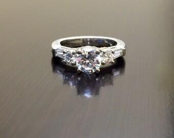 Platinum Art Deco Diamond Engagement Ring - Art Deco Engraved Platinum Diamond Wedding Ring - Hand Engraved Platinum Ring - Diamond Ring