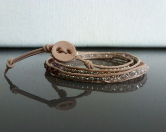 Crystal Leather Wrap Bracelet - Silver Rose Colorway