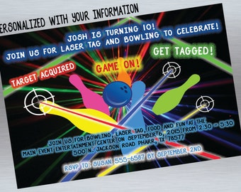 Laser Tag Birthday Invitation, Bowling Birthday Invitation, PRINT AT HOME
