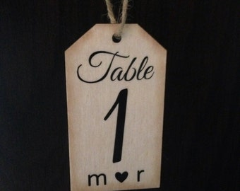 10 Personalized Rustic Wedding Table Numbers - Wooden Hang Tag with Jute/Twine
