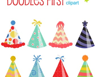 Fun Party Hats Clip Art for Scrapbooking Card Making Cupcake Toppers Paper Crafts
