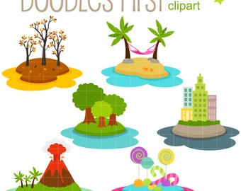 Little Islands Digital Clip Art for Scrapbooking Card Making Cupcake Toppers Paper Crafts