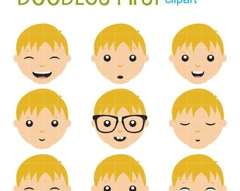 Boys Facial Expressions Clip Art for Scrapbooking Card Making Cupcake Toppers Paper Crafts