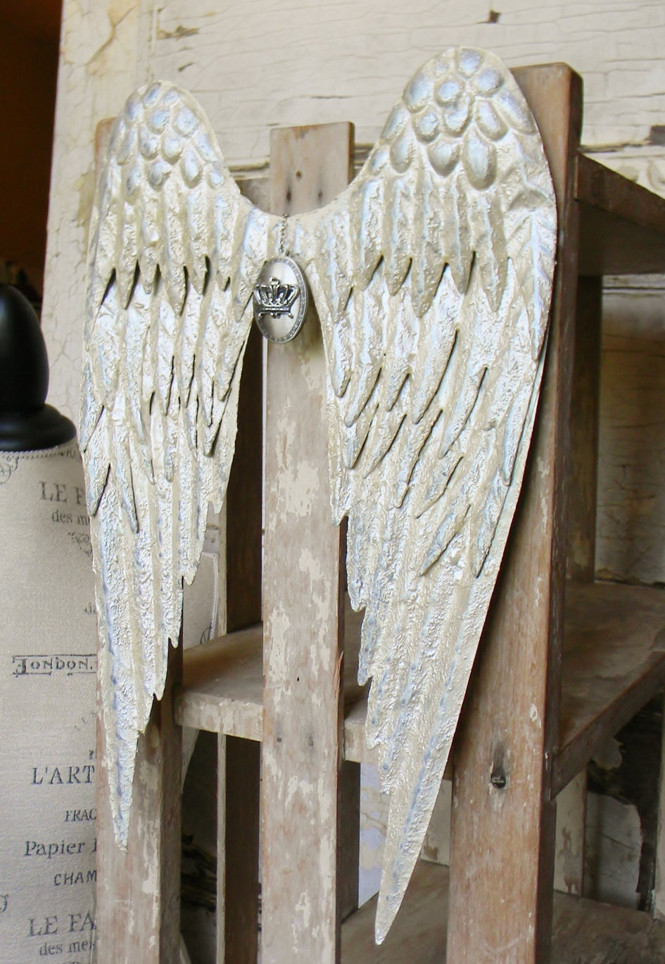 Metal wall decor angel wing wall decor by colorfulcastandcrew for Angel wings wall decoration