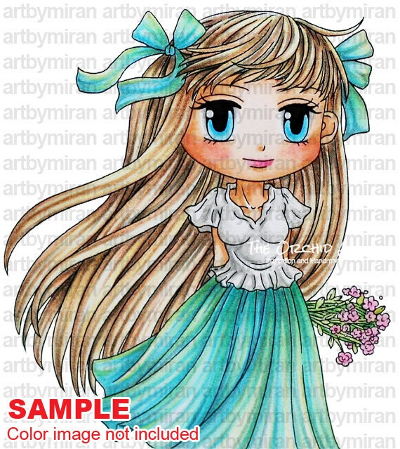Digital Stamp - Willow(#219), Digi Stamp, Coloring page, Printable Line art for Card and Craft Supply