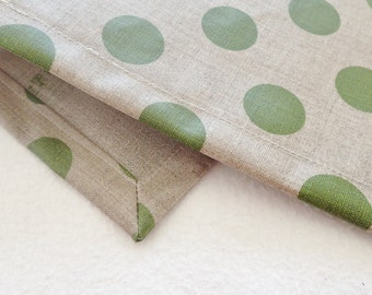 Set of 6, Waterproof Placemats, Green Polka Dot, Laminated Linen, Wipe Clean Table Mats