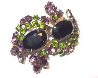 Vintage Rhinestone Brooch Estate Jewelry 40s