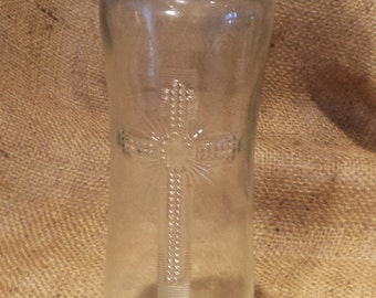 Candle Vases, Catholic Church Salvage, Embossed Cross Detail, Clear Glass