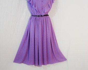 Lilac Chiffon Ruffled Vintage Dress by CARON Full Shirtwaist Mid Calf Lolita Rockabilly Chic SM