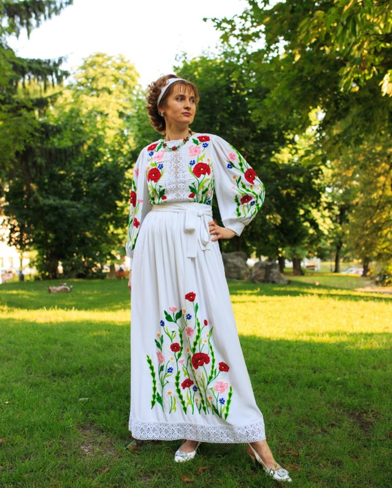 Ukrainian Traditional Boho Lacy Wedding, Prom, Engagement Dress. Floral Design: Red Poppy Flowers, Chamomile, Cornflowers. Hand Embroidered.
