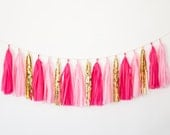 Pink and Gold Tassel Garland -Pink Theme Party Decor, Pink Birthday Party, Pink Nursery Decor, Pink Baby Shower, Hot Pink Bachelorette Decor