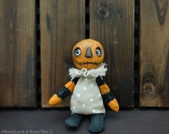 Pumpkinhead - Ghoulies Art Doll - Original Mixed Media Halloween Soft sculpture doll - OOAK