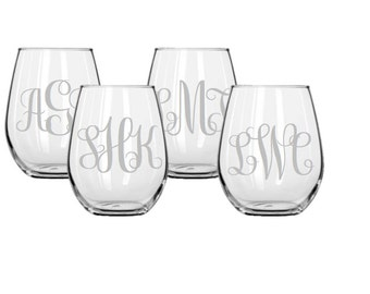 Set of 4 Monogrammed Stemless Etched Wine Glasses