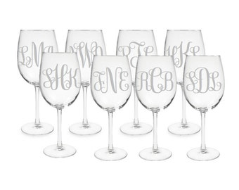 Set of 8 Monogrammed Etched Wine Glasses