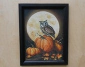 In the Pumpkin Patch .. home decor .. framed prints .. autumn moon and pumpkins .. owl print .. handmade frame .. Halloween .. Made in USA