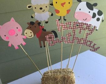 Red gingham barnyard farm animals centerpiece birthday party decor