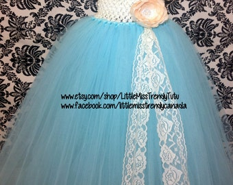 Aqua blue and Ivory Tutu Dress, Vintage Tutu Dress, Aqua Couture Tutu Dress, Aqua Flower Girl Tutu Dress, Aqua Ivory Vintage Tutu Dress,