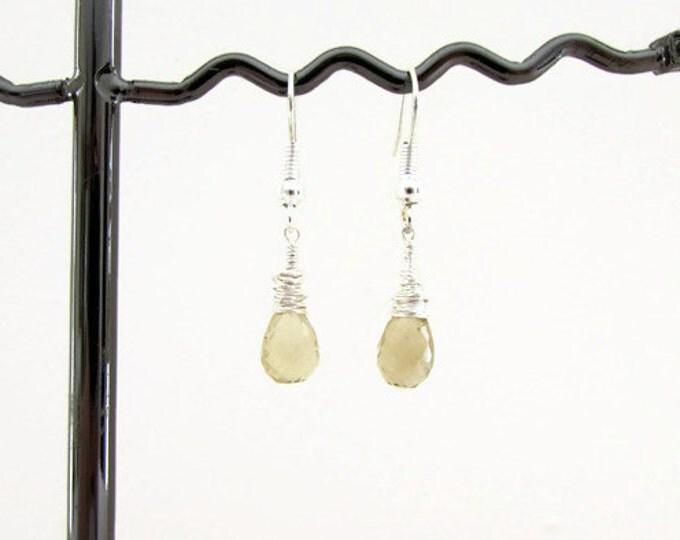 Quartz earrings, tiny lightweight drop earrings, handmade in the UK