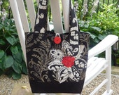 Black Handbag, Black White Tote, Black Tote Bag, Womens Black Handbag, Black Shoulder Bag, Fabric Handbag, Fabric Tote, Large Tote, Tote Bag